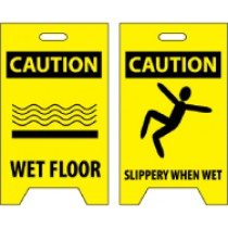 Caution Wet Floor/Caution Slippery When Wet Double-Sided Floor Sign (#FS1)