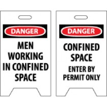 Danger Men Working In Confined Space/Danger Confined Space Enter By Permit Only Double-Sided Floor Sign (#FS21)