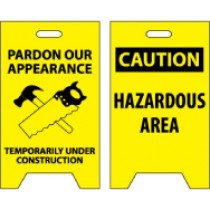 Pardon Our Appearance Temporarily Under Construction/Caution Hazardous Area Double-Sided Floor Sign (#FS23)