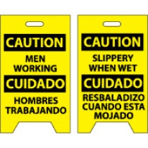 Caution Men Working Cuidado Hombres Trabajando/Caution Slippery When Wet Cuidado Resbaladizo Cuando Esta Mojado Double-Sided Floor Sign (#FS25)