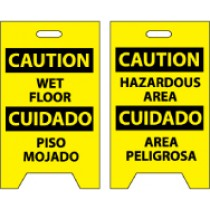 Caution Wet Floor Cuidado Piso Mojado/Caution Hazardous Area Cuidado Area Peligrosa Double-Sided Floor Sign (#FS26)