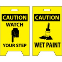 Caution Watch Your Step/Caution Wet Paint Double-Sided Floor Sign (#FS2)