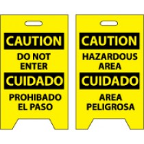 Caution Do Not Enter Cuidado Prohibado El Paso/Caution Hazardous Area Cuidado Area Peligrosa Double-Sided Floor Sign (#FS31)