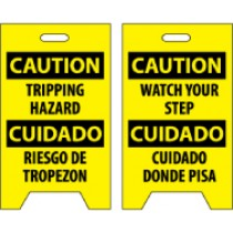 Caution Tripping Hazard Cuidado Riesgo De Tropezon/Caution Watech Your Step Cuidado Cuidado Donde Pisa Double-Sided Floor Sign (#FS32)