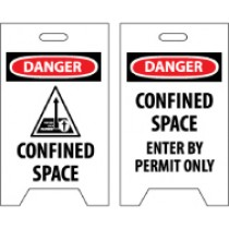 Danger Confined Space/Danger Confined Space Enter By Permit Only Double-Sided Floor Sign (#FS33)