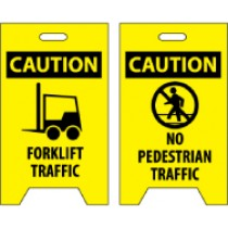 Caution Forklift Traffic/Caution No Pedestrian Traffic Double-Sided Floor Sign (#FS34)
