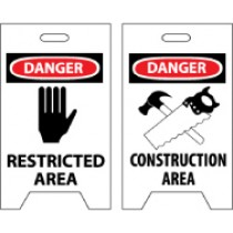 Danger Restricted Area/Danger Construction Area Double-Sided Floor Sign (#FS35)