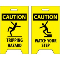 Caution Tripping Hazard/Caution Watch Your Step Double-Sided Floor Sign (#FS36)