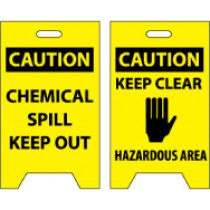 Caution Chemical Spill Keep Out/Caution Keep Clear Hazardous Area Double-Sided Floor Sign (#FS5)