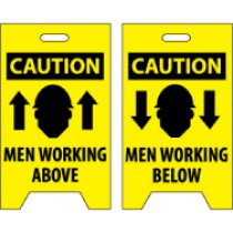 Caution Men Working Above/Caution Men Working Below Double-Sided Floor Sign (#FS6)