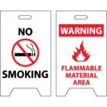 No Smoking/Warning Flammable Material Area Double-Sided Floor Sign (#FS7)
