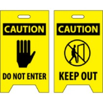 Caution Do Not Enter/Caution Keep Out Double-Sided Floor Sign (#FS8)