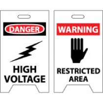 Danger High Voltage/Warning Restricted Area Double-Sided Floor Sign (#FS9)