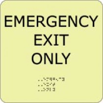 Emergency Exit Only Glow Office ADA Sign (#GADA100BK)