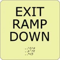 Exit Ramp Down Glow Office ADA Sign (#GADA102BK)