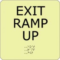 Exit Ramp Up Glow Office ADA Sign (#GADA103BK)