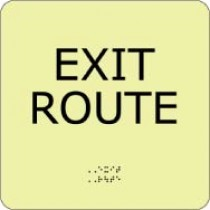 Exit Route Glow Office ADA Sign (#GADA104BK)