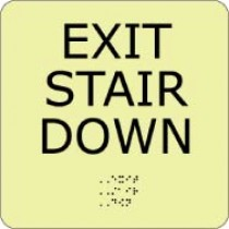 Exit Stair Down Glow Office ADA Sign (#GADA105BK)