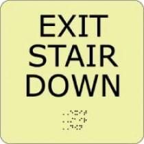 Exit Stair Down Glow Office ADA Sign (#GADA105BK)