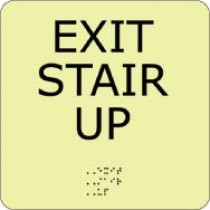 Exit Stair Up Glow Office ADA Sign (#GADA106BK)