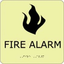 Fire Alarm Glow Office ADA Sign (#GADA107BK)
