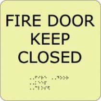 Fire Door Keep Closed Glow Office ADA Sign (#GADA108BK)