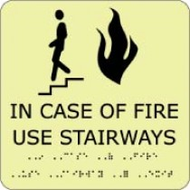 In Case Of Fire Use Stairways Glow Office ADA Sign (#GADA111BK)