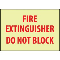 Fire Extinguisher Do Not Block Glow Sign (#GL132)