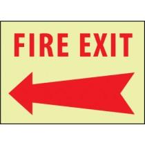 Fire Exit (arrow left) Glow Sign (#GL137)