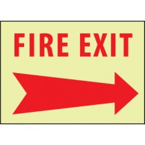 Fire Exit (arrow right) Glow Sign (#GL138)