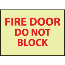 Fire Door Do Not Block Glow Sign (#GL142)