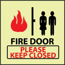 Fire Door Please Keep Closed Glow Sign (#GL144)
