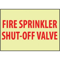 Fire Sprinkler Shut-Off Valve Glow Sign (#GL160)