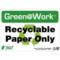 Recyclable Paper Only Going Green Sign (#GW1026)