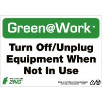 Turn Off/Unplug Equipment When Not In Use Going Green Sign (#GW1038)