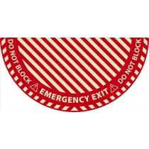 Emergency Exit Half Circle Door Swing Floor Sign (Glow)