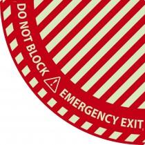 Emergency Exit Quarter Circle Door Swing Floor Sign (Glow)