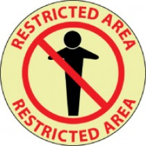 Restricted Area Glow Walk-On Floor Sign (#GWFS11)