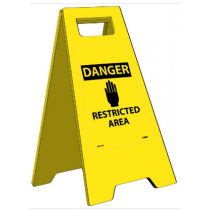 Caution Danger Restricted Area Heavy Duty Floor Stand (#HDFS210)