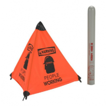 Warning People Working Handy Cone Floor Sign (#HFS8)