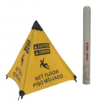 Caution Wet Floor (Bilingual) Handy Cone Floor Sign (#HFS12)