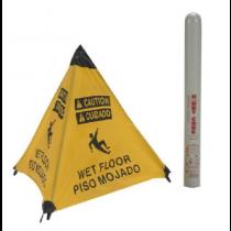 Caution Wet Floor (Bilingual) Handy Cone Floor Sign (#HFS12)