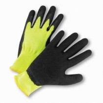 PosiGrip® Hi-Vis Seamless Knit Cotton/Polyester Glove with Latex Coated Crinkle Grip on Palm & Fingers  (#HVG700SLC)