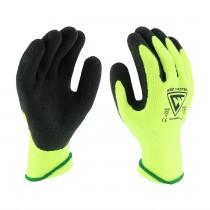 West Chester® Hi-Vis Seamless Knit Brushed Acrylic Glove with Latex Coated Crinkle Grip on Palm & Fingers  (#HVG700WSLC)