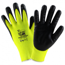 PosiGrip® Hi-Vis Seamless Knit Nylon Glove with Nitrile Coated Foam Grip on Palm & Fingers  (#HVY715YNF)