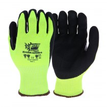 Barracuda® Hi-Vis Seamless Knit HPPE Blended Glove with Padded Palm and Nitrile Coated Sandy Grip on Palm & Fingers - Touchscreen Compatible  (#HVG713SNFPP)