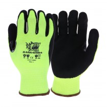 Barracuda® Hi-Vis Seamless Knit HPPE Blended Glove with Nitrile Coated Sandy Grip on Palm & Fingers - Touchscreen Compatible  (#HVG713SSN)