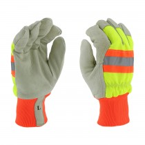 PIP Top Grain Pigskin Leather Palm Glove with Hi-Vis Nylon Back and 3M Thinsulate Liner - Knit Wrist  (#HVY1555)