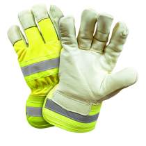 Posi-Therm® Top Grain Pigskin Leather Palm Glove with Hi-Vis Nylon Back and Posi-Therm® Liner - Rubberized Safety Cuff  (#HVY5555)