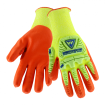 R2™ Hi-Vis Seamless Knit HPPE Blended Glove with Impact Protection and Nitrile Coated Foam Grip on Palm & Fingers  (#HVY710HSNFB)